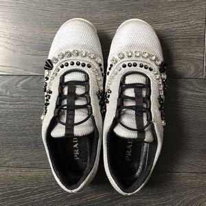 Prada   Nylon Mesh Sneakers with Crystals